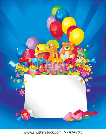 stock photo : Children's birthday: toys, birthday cake, balloons, gift boxes, and Frame for your text congratulations