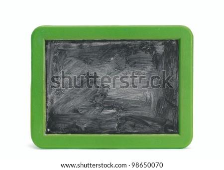 Children's blank chalkboard with green frame