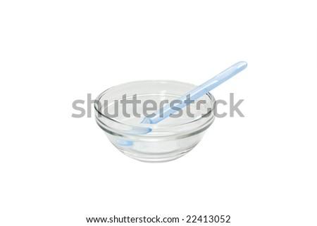 Children's bowl on a white background - stock photo
