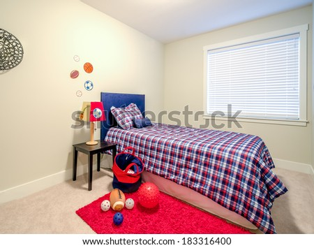 Children's boy's blue and red bedroom playroom. Interior design. #183316400