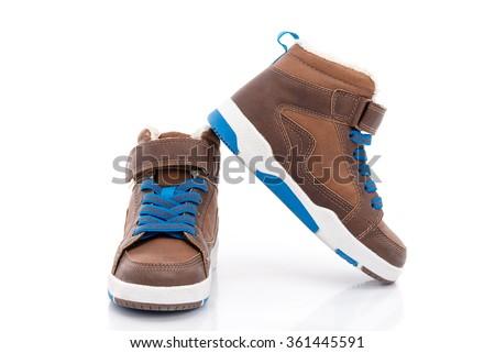 children's boy shoes on white...