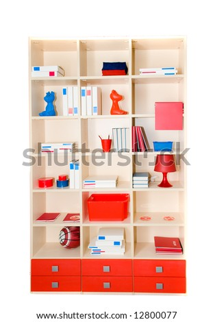 Children's case with accessories. Isolation on white
