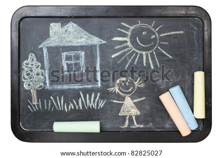Children\'s chalk drawing on school board