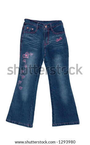 Children's clothing blue girl jeans with pink pattern isolated on white background