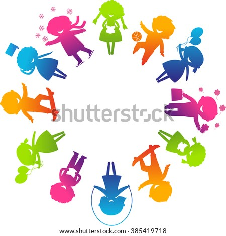 Children's Day concept. Cute children silhouettes around the World.