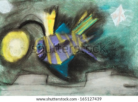 children's drawing - fish with flashlight on his head in underwater world #165127439