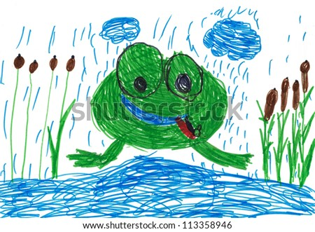 children's drawing. funny frog with tongue out
