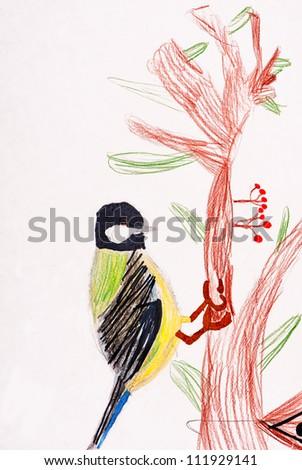 children's drawing. little bird in forest