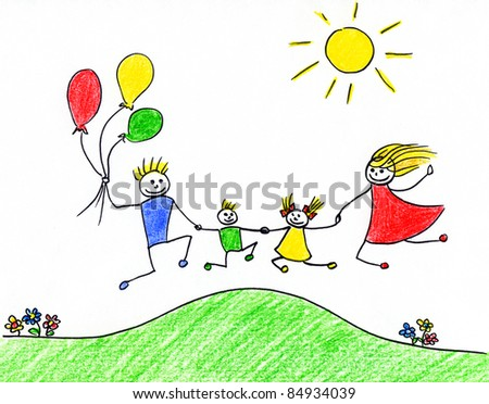 Children's drawing of happy family having good time together