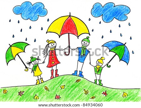 Children's drawing of happy family with umbrellas in autumn time - stock photo