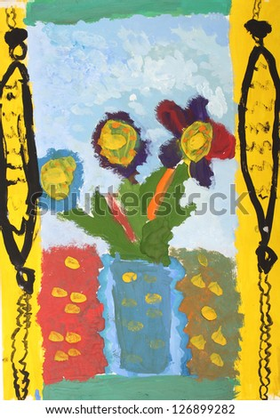 Children\'s drawing paints: Flowers in a vase on the window