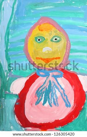 Children's drawing paints: portrait doll