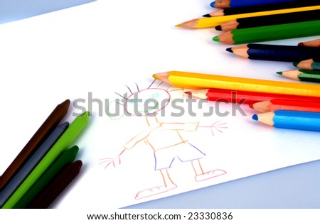 children's drawings and colourful crayons