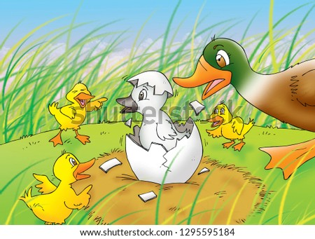 children's fairy tales ugly duckling Foto stock ©