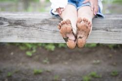 Children's feet became muddy