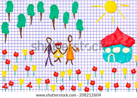 Children\'s flat molding on white squared paper sheet background (Happy family on a blossoming meadow near the own house - objects are executed from color plasticine)