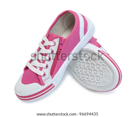 Children's gym shoes, on a white background