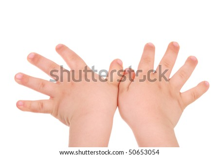 Children's hand isolated on white background