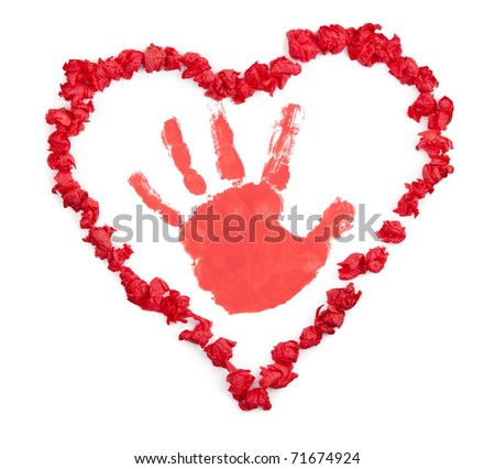Children's hand-made Valentine's gift with handprint to parents - isolated on white