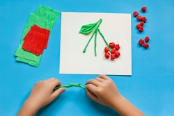 Children's hands make an applique from paper. Step-by-step instructions. DIY for school and kindergarten. Sensory exercises for children. Creative activities with a child during quarantine.