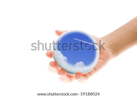Children's hands on the world.