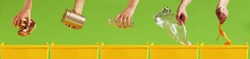 Children's hands throw paper, metal, glass, plastic, organic garbage into different yellow containers on a light green background. Waste sorting. Environment care. Recycling and ecology concept.