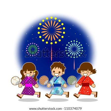 Children's Illustration fireworks