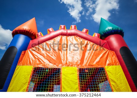 Children's inflatable bounce house castle upper half.