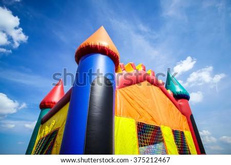 Children\'s inflatable jumpy house castle top half.