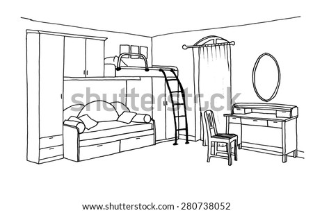 Kids Bedroom Drawing royalty-free children's, kids room graphical sketch… #273839999