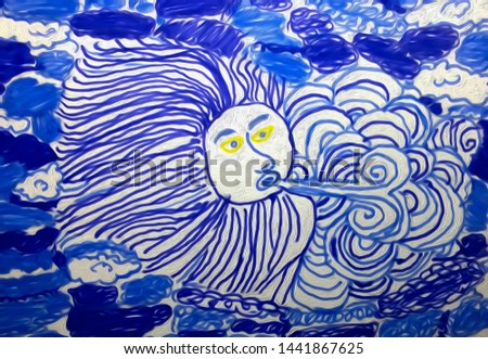 Children's oil painting depicting the head of God of the wind in the sky Stok fotoğraf ©