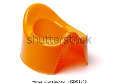 Children's orange pot isolated on white background with shadow
