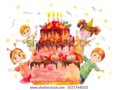 children's party at the birthday of a classmate. Merry holiday with a huge cake. Watercolor illustration for a poster or greeting card