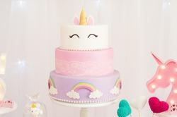 children's party decoration, unicorn theme, isolated cake