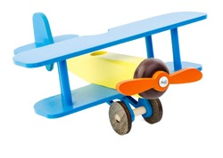 Children's plane of yellow blue color made of wood isolated on white background. Corncorn. The concept of children's toys. Retro Toys