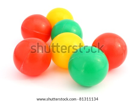 children's  plastic colored balls on white