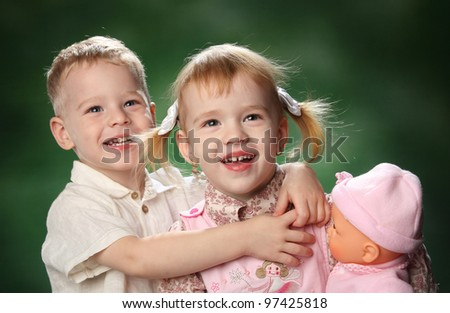children's portrait of a brother and sister in a children's game