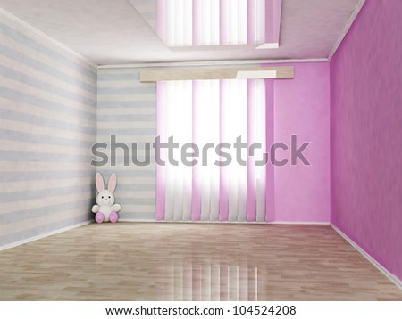 children's room in gentle tones, rendering