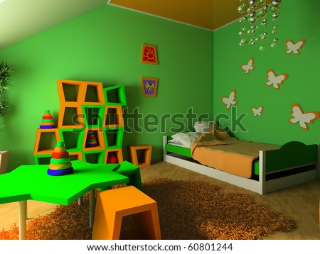 Children's room with a bed 3d image