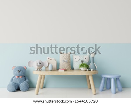 Children's room with bright blue and white wall,3D rendering