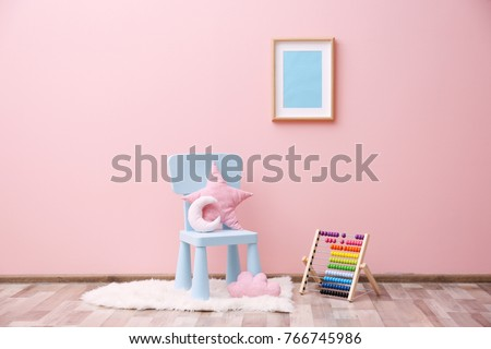 Children's room with bright color wall, interior details #766745986