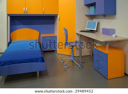 Children's room with computer