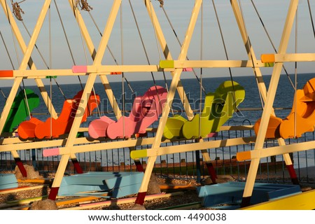 Children's swings in the sunset