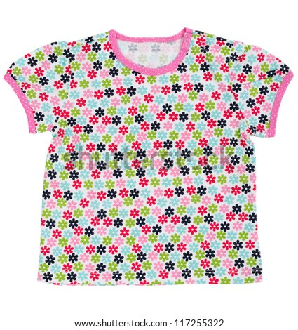 Children's T-shirt with a colored floral pattern. Isolate on white.