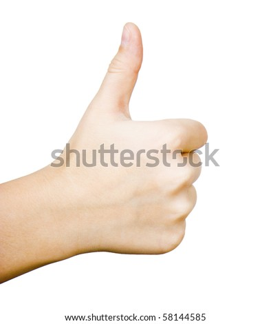 Children's thumb up on a white background