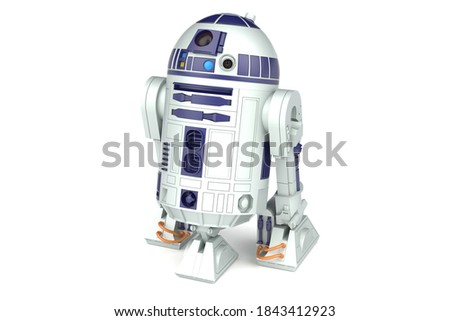 Children's toy droid r2d2 from the movie star wars. 3d render.