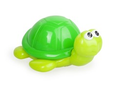 children's toy green turtle isolated on white background