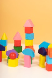 children's toys made from natural material. wood toys for developmental. colorful wood toys and toys for cognitive rehabilitation