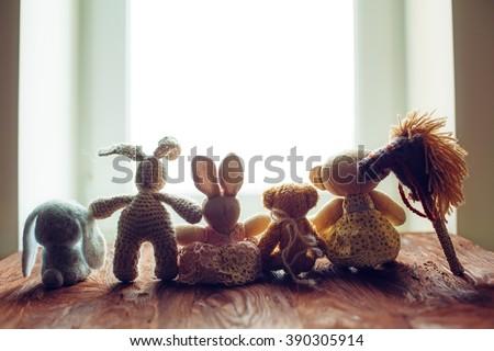 children's toys on wooden floor ...