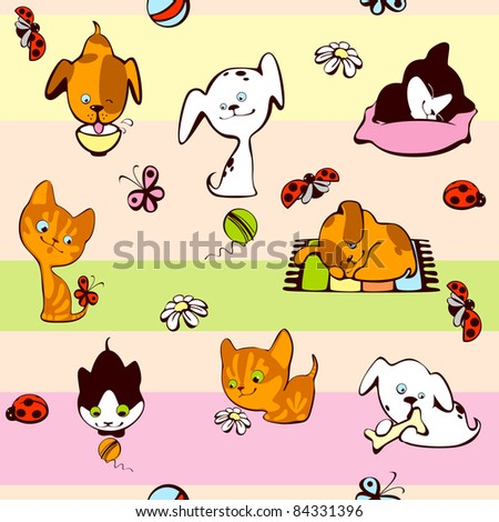 children's wallpaper. pets, cat and dog on a colorful background. raster version